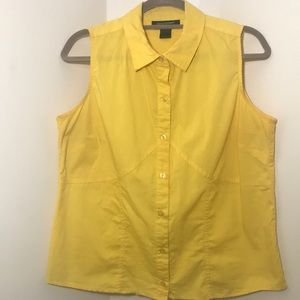 Canary Yellow button down sleeveless button up